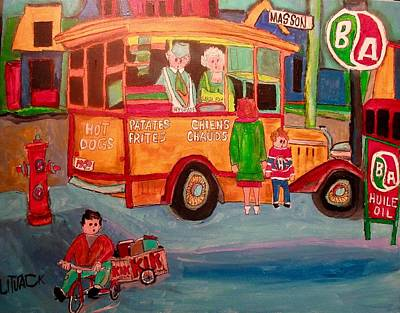 Montreal Chips Painting - Vintage Old Time Chip Wagon Masson by Michael Litvack