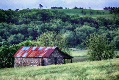 Photograph - Old-time Kansas Spring Stone Outbuilding by Anna Louise