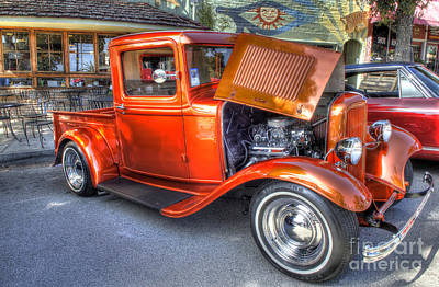 Hdr Photograph - Old Timer Orange Truck by Mathias