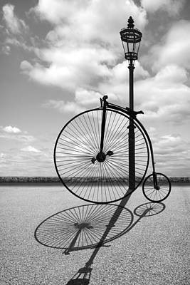 Photograph - Old Times - Penny Farthing With Street Lamp And Shadows by Gill Billington