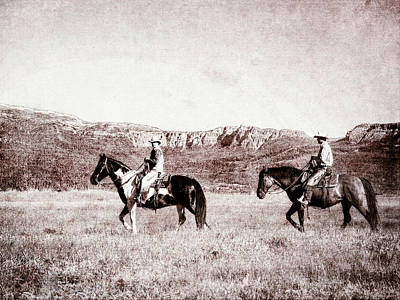 Photograph - Old Timey Horse People Walking Across The Range by Kay Brewer