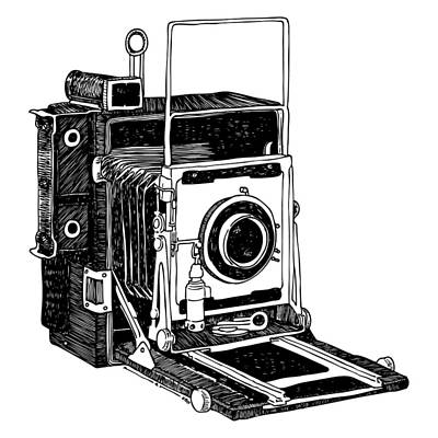 Vintage Camera Drawing - Old Timey Vintage Camera by Karl Addison