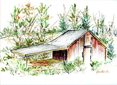 Drawing - Old Tobacco Barn by Deborah Willard