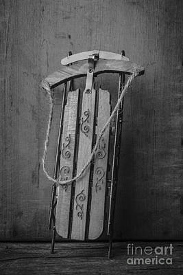 Sledding Photograph - Old Toboggan Sled by Edward Fielding