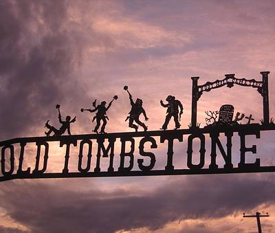 Design Turnpike Vintage Maps - Old Tombstone  sign in metal Tombstone Arizona 2004 by David Lee Guss