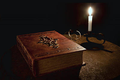 Knowledge Photograph - Old Tome Still Life II by Tom Mc Nemar