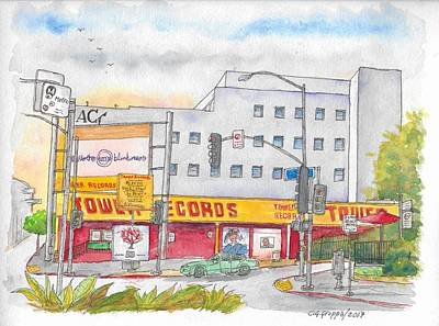 Painting - Old Tower Records In West Hollywood, California by Carlos G Groppa