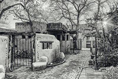 Luminaria Photograph - Old Town Albuquerque Secret Passageway In Black And White - Albuquerque New Mexico by Silvio Ligutti