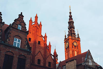 Photograph - Old Town Buildings In Gdansk During Sunrise. by Michal Bednarek