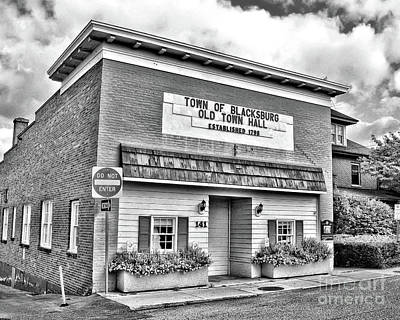 Photograph - Old Town Hall Blacksburg Virginia Black And White by Kerri Farley