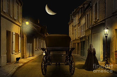 Street Lamps Digital Art - Old Town In The Night by Monika Juengling
