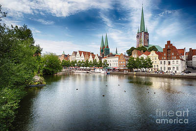 Lubeck Photograph - Old Town Lubeck Waterfront by George Oze