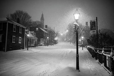 Photograph - Old Town Marblehead Snowstorm Looking Up At Abbot Hall Black And White by Toby McGuire