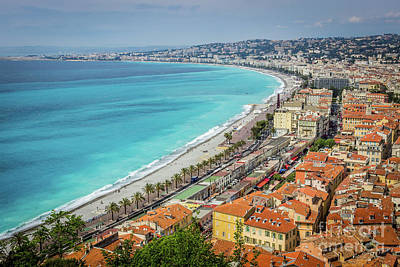 Arial View Photograph - Old Town Nice And Promenade Des Anglais On The Sea In France by Liesl Walsh