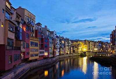 Old Town Of Girona At Night Art Print by Anastasy Yarmolovich