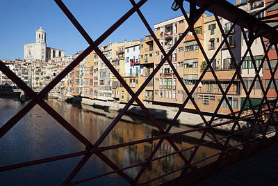 Grate Photograph - Old Town Of Girona From Eiffel Bridge by Artur Bogacki