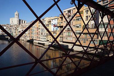 Old Town Of Girona From Eiffel Bridge Art Print by Artur Bogacki