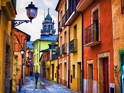 Street Lamps Digital Art - Old Town Ponferrada by Ronald Bolokofsky