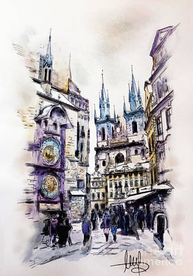 Old Mixed Media - Old Town Square In Prague by Melanie D