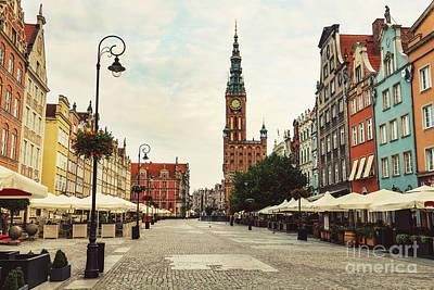 Photograph - Old Town Street And Buildings In Gdansk, Poland. by Michal Bednarek