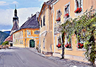 Old Town Digital Art - Old Town Street In Europe by Yury Malkov