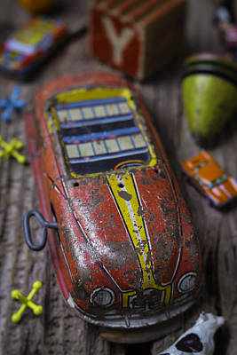 Color Block Photograph - Old Toy Car by Garry Gay