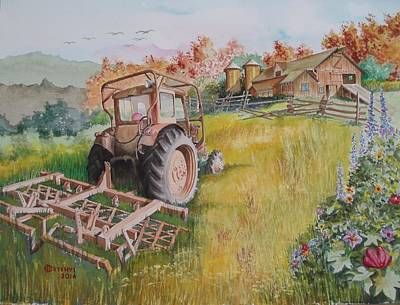 Painting - Old Tractor  by Charles Hetenyi