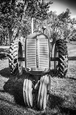 Photograph - Old Tractor In Black And White by Anthony Doudt