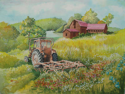 Painting - Old Tractor In Hungary Galgaguta by Charles Hetenyi