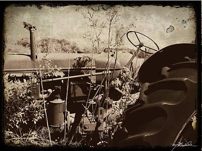 Weed Digital Art - Old Tractor by Melissa Wyatt