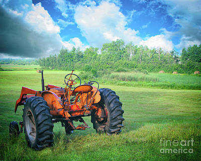 Haying Photograph - Old Tractor On The Farm by Apostrophe Art