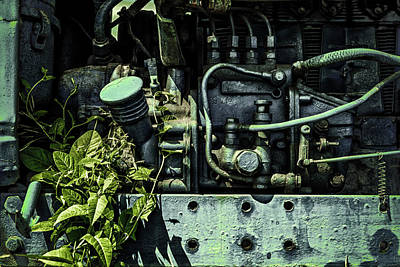 Photograph - Old Tractor Weed Engine In Blue by John Williams