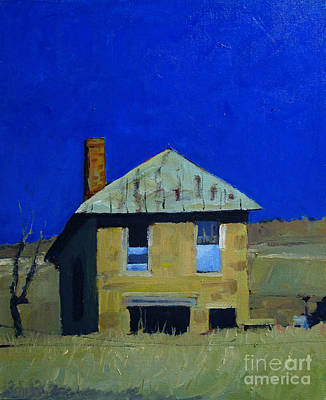 Stone Buildings Painting - Old Trading Post On A Blue Sky Day by Charlie Spear
