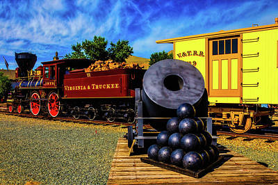 Mortar Photograph - Old Train And Canon Mortar On Flat Car by Garry Gay