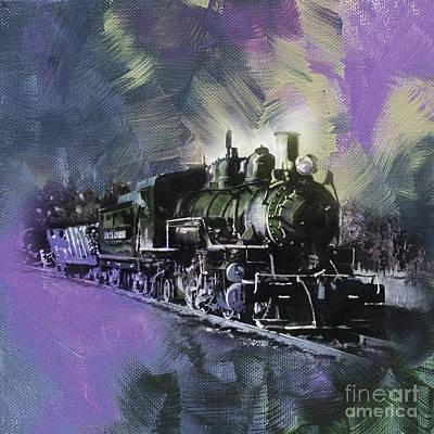 Old Train On Track  Original