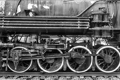 Old Train Wheels In Black And White Art Print by Garry Gay