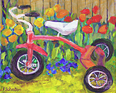 Painting - Old Tricycle By Peggy Johnson by Peggy Johnson
