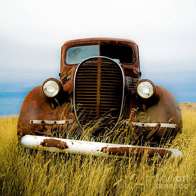 Old Truck In Field Art Print by Emilio Lovisa