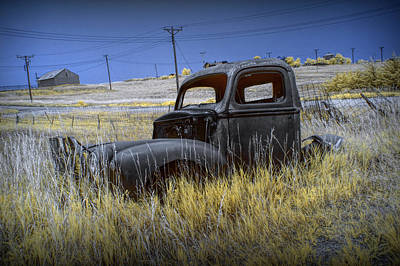 Photograph - Old Truck In Infrared Lying In The Grass At The Ghost Town By Okaton South Dakota by Randall Nyhof