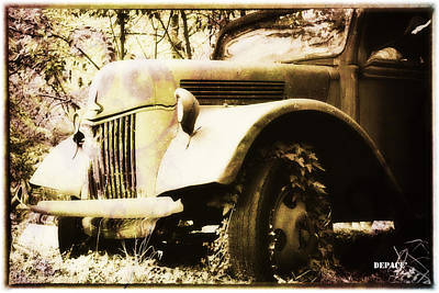 Abstract Digital Art - Old Truck In The Woods by KJ DePace
