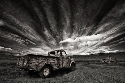 Rusty Photograph - Old Truck (mono) by Thorsteinn H. Ingibergsson