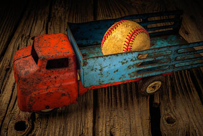 Weatherworn Photograph - Old Truck With Basball by Garry Gay