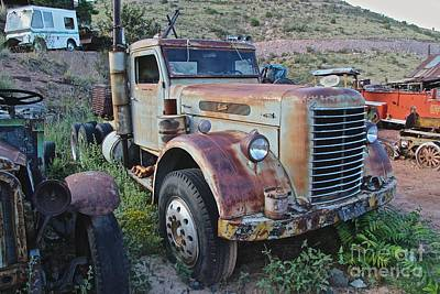 Broken Down Photograph - Old Semi Truck by Anthony Jones