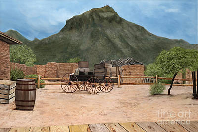 Adobe Painting - Old Tucson by Mary Rogers