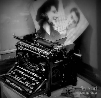 Photograph - Old Typewriter Black And White by Tanya Searcy