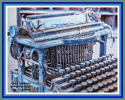 Old Typewriter H A With Decorative Ornate Printed Frame. Print by Gert J Rheeders