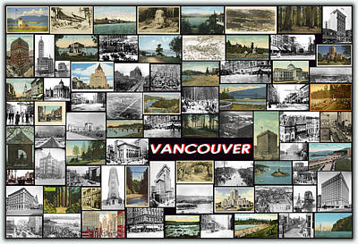 Old Vancouver Collage Art Print by Janos Kovac