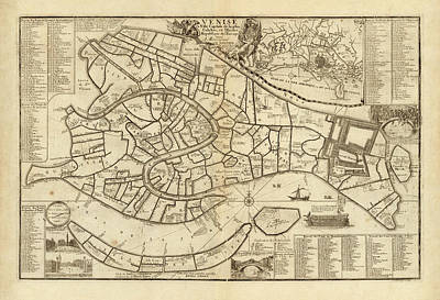 Drawing - Old Venice Map By Nicolas De Fer - 1725 by Blue Monocle