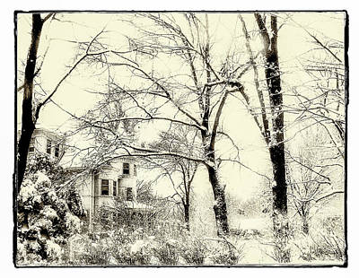 Old Victorian In Winter Print by Julie Palencia