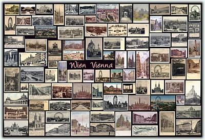 Old Vienna Collage Art Print by Janos Kovac